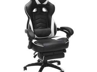 RESPAWN 110 Racing Style Gaming Chair  Reclining Ergonomic leather Chair with Footrest  in White  RSP 110 WHT