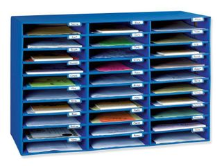 Classroom Keepers 30 Slot Mailbox  Blue  21 H x 31 63 W x 12 75 D Piece