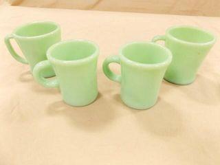 Jadeite Cups  4  2 sizes  same marking