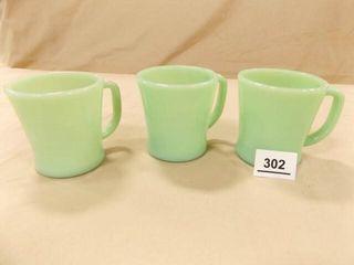 Jadeite Cups  3  same marking
