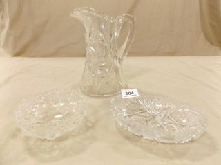 Crystal Pitcher  Glass Relish Dishes  2
