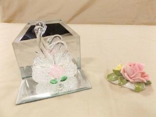 Blown Glass Swans  Flowers with marking