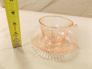 Pink Glass Cup   Saucer