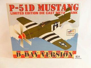 1995 liberty Metal P 51D Airplane Bank