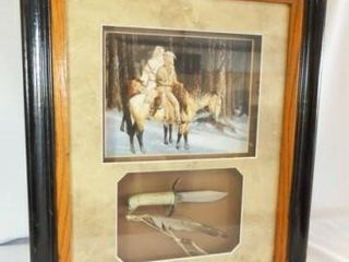 Framed Art with Knife  Feather