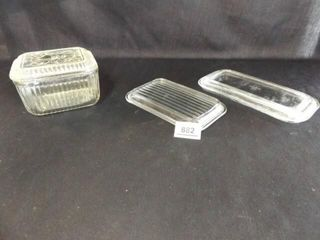 Clear Glass Refrigerator Bowl  Extra lids  3