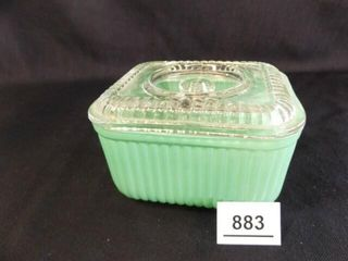 Green Glass Refrigerator Dish w  lid