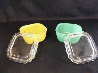 Green  Yellow Glass Refrigerator Dish