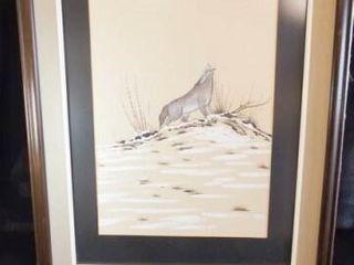 Howling Coyote Framed Art  29  x 23