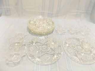 Snack Tray   Cup  Clear Glass  Set of 8