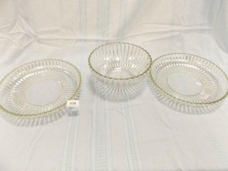Glass Platters  2  Bowl  Ribbed