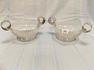 Glass Bowls  Silver Color Handles  2  Ribbed