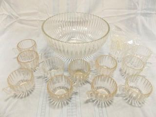 Punch Bowl  Cups  12  Ribbed