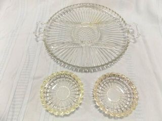 Glass Relish Plate  Ashtrays  2  Ribbed