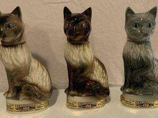 Lot of 3, 1967 Jim Beam Cat Decanters