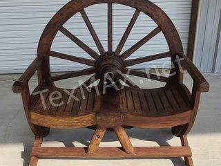 Wagon Wheel Solid Wood Bench