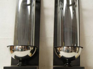 Pair of Wall Hanging  Hurricane Candle Holders Wood and Glass