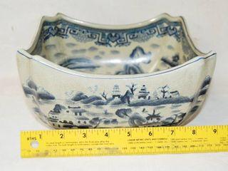Vintage Square Decorative Bowl  Blue Design  Very Pretty