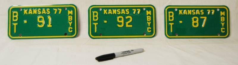 lot of 3 Kansas Motorcycle license Plate  91  92  87