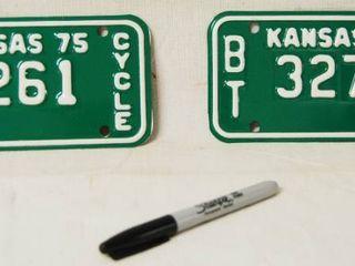 lot of 2 Kansas Motorcycle Plates   Year  75