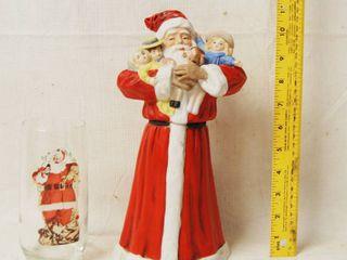 Christmas Santa Figurine Wind Up Music Box  and Coca Cola Glass