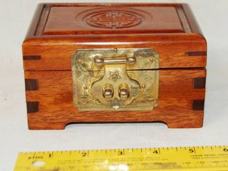 Far East Inspired Small Wood Jewelry Box  For Man or Woman