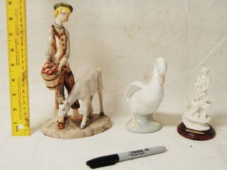 Nice Collectible Figurines  Boy w  Cow  Duck  and lady w  Dogs   Decor