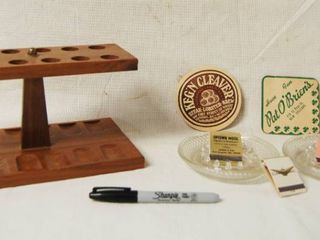 Pipe Smoker s lot   Wooden Pipe Stand  Vintage Matchbooks  Ash trays and more