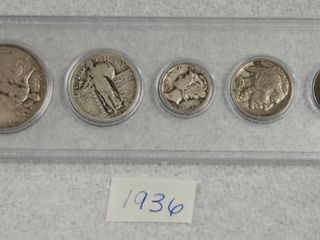 1936 Coin Set   Silver Walking liberty  Mercury  Indian Head and More