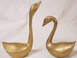 lot of 2 Golden Swans   Very Heavy   Probably BrassIJ