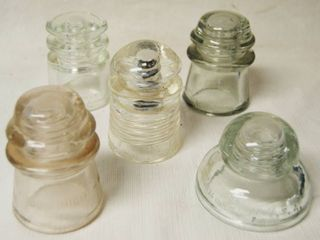lot of 5 Vintage Glass Insulators   Various Brands and Designs   see pics