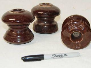 lot of 3 Unique Porcelain Telephone Insulator   Brown Porcelain