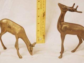 lot of 2 Small Brass Deer Figurines   Majestic