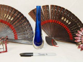 Beautiful Blue Vase  lot of Hand Fans and Misc  Items