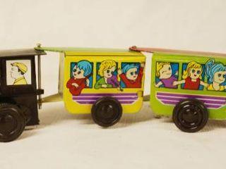Vintage Wind Up Metal Train   Very Cool