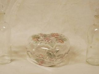 Pair of Apothecary Glass Bottles w  Stoppers   amp  Heart Shaped Covered Candy Trinket Dish