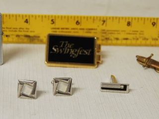 Mens lot   Cuff links  Tie Tack and Old School lighter