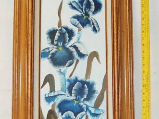 Blue Iris Flowers Framed Art Painting signed by M Shank 1985