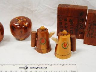 lot of 3 Sets Collectible Wood  Salt and Pepper Shakers