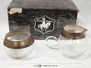 Royal lancer Vintage Sterling Silver and Glass  Cream and Sugar Holder w  original box