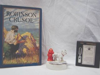 lot of Misc  Items  Robinson Crusoe Book  and Decor