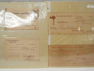 lot of 4 Vintage Post Cards and Receipts