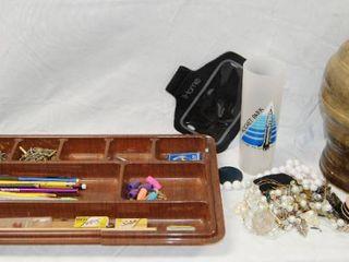 Assorted Items  Pencil Organizer  Vase  Beads  etc