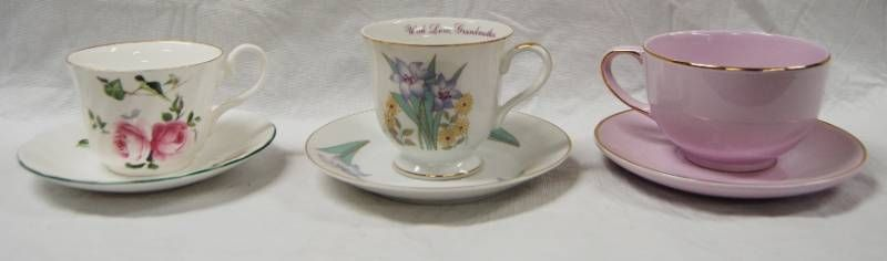 lot of 3 Vintage Tea Cups and Saucers