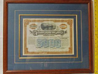 Framed Railroad Certificate  RB220 Atchison Topeka   Santa Fe Railroad Co