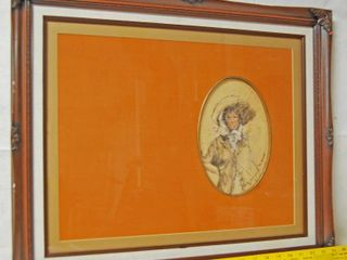Framed Art Picture of a lady  The Bonnet
