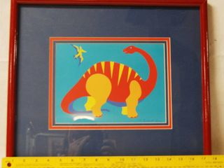 Framed Art Picture of a Apatosaurs Dinosaur  Artist   Bechhardt lada Certificate of Authenticity  HE 100032