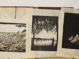 3 Vintage Pictures on Tissue Paper w  an Protective Album Very Cool Item