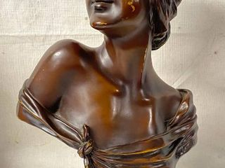 Vintage French Bronze Bust Sculpture SEUlE  by Emmanuel Villanis Depicting a Roman Goddess   HTF  Highly Collectible