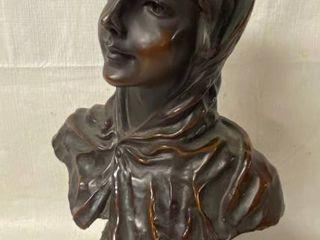 Vintage French Bronze Bust Sculpture  RETOUR DU BAl  by Emmanuel Villanis Depicting an Art Nouveau maiden   HTF  Highly Collectible